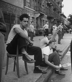 Ed Clark - Spectators watching a punchball game, NY, 1946