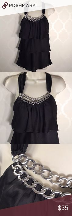 White House Black Market  Ruffle Top Halter top; Chain accent front neckline; 3 ruffle cascade to hemline ; ties in back neck White House Black Market Tops Blouses