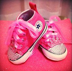 Be dazzled chucks w/crown Cute Baby Shoes, Baby Girl Shoes, Kid Shoes, Girls Shoes, Baby Girl Converse, Cute Babies, Baby Kids, Little Diva, Bling Shoes