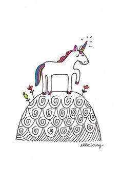 Unicorn Meadow  5x7 Art Print by ellolovey on Etsy #unicorn #illustration