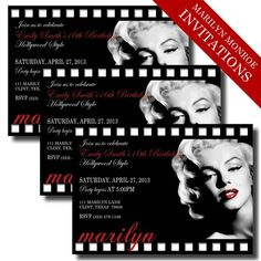 Check out our marilyn monroe invitation selection for the very best in unique or custom, handmade pieces from our invitations shops. Movie Party Invitations, Toy Story Invitations, Printable Invitations, Birthday Invitations, Invitation Ideas, Wedding Invitations, Hollywood Invitations, Marilyn Monroe Birthday, Glamour Party