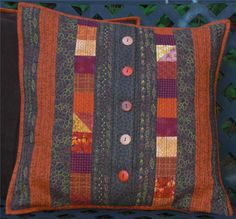 Brown Quilted Throw Pillow Cover Patchwork by MakeMinePatchwork