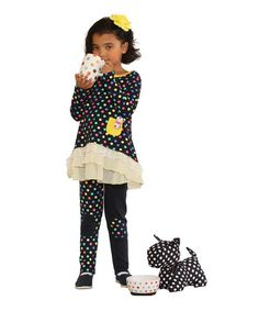 Navy & Yellow Polka Dot Tunic & Leggings - Toddler & Girls by Blue Curl #zulily #zulilyfinds