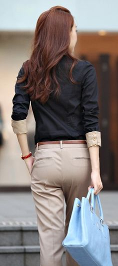 office style: I wonder if I can do this with my uniform shirt....