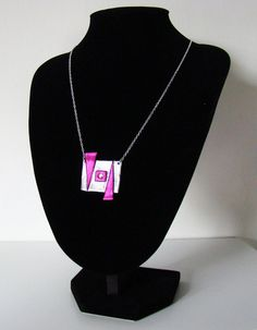 Pink and silver geometric necklace