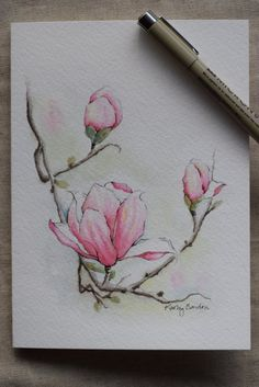 Magnolia 3 blossoms watercolor painting card Print