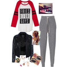 A fashion look from February 2015 featuring baseball t shirt, biker jacket i jogging trousers. Browse and shop related looks.
