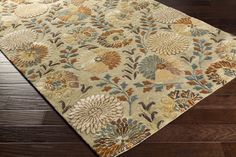 Vintage Area Rug   Green Floral and Paisley Rugs Hand Tufted   Style VTG5227