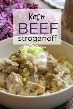 Easy Keto Beef Stroganoff is comfort in a bowl. Filling beef and mushrooms in a low carb creamy keto sauce piled atop a bed of cauliflower rice–or eat it by itself! You'll love this healthy creamy homemade keto sauce for beef stroganoff. Keen for Keto Low Carb Slow Cooker, Slow Cooker Beef, Beef Stroganoff Sauce, Keto Mushrooms, Keto Crockpot Recipes, Crockpot Ideas, Keto Sauces, Low Carb Dinner Recipes, Keto Dinner