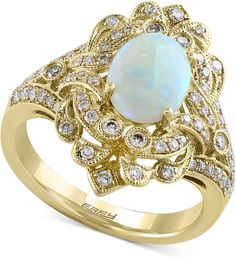 Aurora by EFFY Opal (9/10 ct. t.w.) and Diamond (1/2 ct. t.w.) Ring in 14k Gold