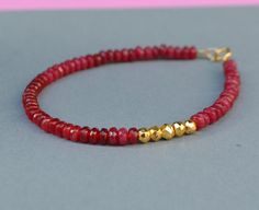 Ruby and Gold Pyrite Bracelet by SeaSaltShop on Etsy