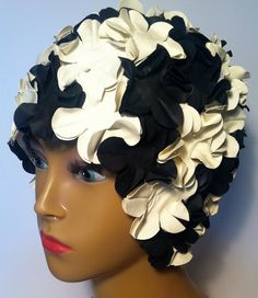 Flower swimming caps   white and black by beamalevich on Etsy, $35.50