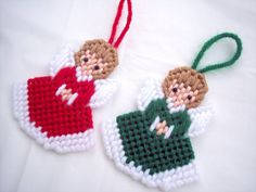 Christmas Ornaments Angel Ornaments Set of by TheButterfliesGarden #Christmas #Christmas2016 #green #red #angels #ornaments #white #brown #dress #praying #handmade #needlework #tree #shopsmall