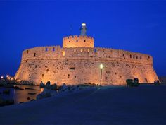 #Rhodes by #Night...  #Rodos #Greece To Go, Historical Sites, Monument Valley, Greece, Exotic, Island, Beach, Nature, Travel