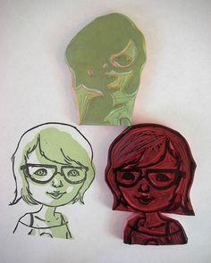 Mel Stringer hand carved stamp by DearYouFromKozue, via Flickr