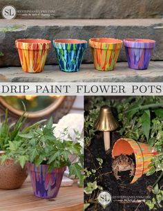 How to Make Drip Paint Flower Pots - Terra Cotta Toad Houses Summer kidscraft Stores madewithmichaels. Clay Pot Projects, Clay Pot Crafts, Painted Clay Pots, Painted Flower Pots, Toad House, Decorated Flower Pots, Terracotta Flower Pots, Flower Pot Crafts, Outdoor Crafts
