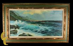 """Untitled Seascape by Manfred Kuhnert Oil on Canvas w/ Frame 38"""" x 23""""   #FreedomOfArt  Join us, SUBMIT your Arts and start your Arts Store   https://playthemove.com/SignUp"""
