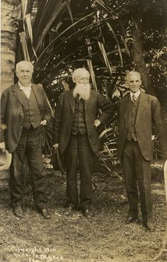 Pictured (L to R) are Thomas Edison, John Burroughs, and Henry Ford in Fort Myers (1913).