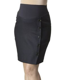 This Midnight Navy Button-Front Linen Mid-Belly Skirt is perfect! #zulilyfinds