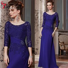 Hot Sale Royal Blue Lace Chiffon Mother of the Bride Dresses for Weddings Beading Applique 3/4 Sleeve Women Formal Gowns