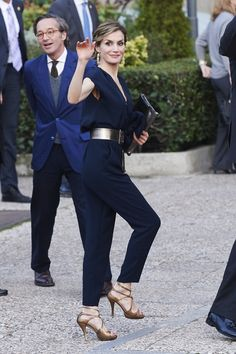 Queen Letizia dons her new Mango jumpsuit at the opening of the exhibition 'Teresa de Jesus: The proof of my truth' on Wednesday.