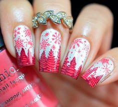 shipping and exclusive stamping plates! Christmas Nail Art Designs, Winter Nail Designs, Winter Nail Art, Winter Nails, Holiday Nails, Christmas Nails, Short Nails Art, Pretty Nail Art, Baseball Mom