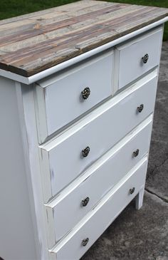 DIY Regular dresser to a Vintage style  Dresser. I like the rustic feeling the layer of a wood topping makes and the shorter turnaround time for reusing after painting.