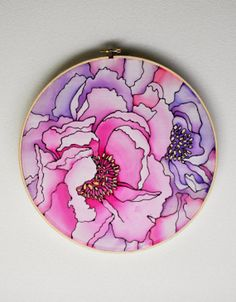 Peonies   Silk Painting on 12 Inch Embroidery by KristenMakesArt, $25.00