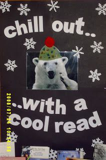 Library Displays: Winter - Chill Out with a Cool Read School Library Displays, Middle School Libraries, Library Themes, Library Posters, Library Activities, Elementary Library, Library Ideas, Classroom Displays, Library Signage