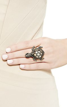 Diamond Turtle Ring by Kirat Young for Preorder on Moda Operandi