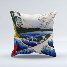 SUEDE STYLE FILLED THROW CUSHION - Japanese Ando Hiroshige