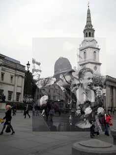 Anti-Union Movement protestors, Trafalgar Square, 1962. | 18 Photos Of London's Past, Blended With Its Present