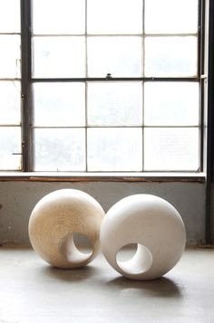 Sphere by MAY Furniture Co :: At round, this object could function as seating or scultpure. Each Sphere is hand shaped from solid OSB plywood :: Furniture New York Osb Plywood, Plywood Furniture, Wood Sculpture, Sculpture Ideas, Art Sculptures, Garden Sculptures, Ceramic Sculptures, Modern Spaces, Furniture Companies