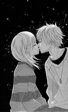 anime+couple+tumblr+black+and+white - Google Search