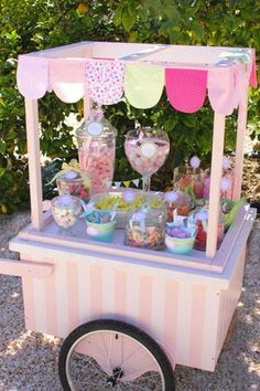 Mesa de dulces by lucinda - Party * Lemonade , Candy Table, Candy Buffet, Dessert Table, Bar A Bonbon, Sweet Carts, Candy Cart, Ice Cream Party, Baby Party, Candyland