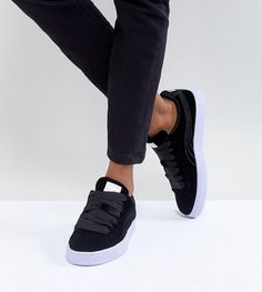 5e13d4912bb0 Puma Velour Basket Classic Sneakers In Black with Blue Sole