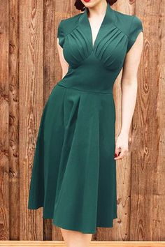 Vintage V-Neck Short Sleeve Ruffled Spliced Solid Color Dress For Women