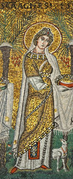 sv. Agneza (Janja), 3-4. st., iz Rima, janje - nevinost, mač, plamen - mučeništvo; s 12 ili 13 godina trebala silovanjem biti žrtvovana poganskim bogovima u Minervinu hramu, napravila znak križa, mučena, odbila prosce i odlučila umrijeti radi Krista; (mozaik, procesija djevica-mučenica iz Sant' Apollinare Nuovo, Ravenna, 6. st.), 21.1. svetkovina
