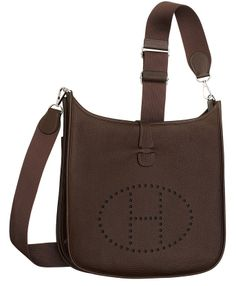 Hermes Evelyn cross body bag in grey leather. Front View.   Hermes ...
