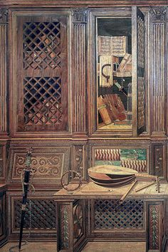 Walls of the tiny Urbino studiolo are designed in a technique of intricate wood inlay known as intarsia. Decoration, Art Decor, Home Decor, Cool Wood Projects, Antique Cupboard, Artist Workshop, Wooden Pattern, Gothic Furniture, Parquetry