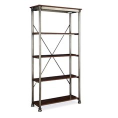 This sturdy shelving unit has five fixed and reinforced shelves providing plenty of storage space. A powder-coated metal and birch veneer construction gives these shelves a beautiful antique look.
