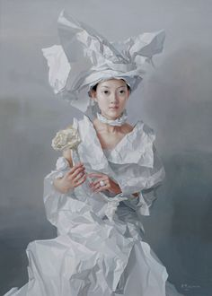 [Artwork of the week] – Paper Bride, 2005 by Zeng Chuanxing This portrait, Paper Bride, oil on canvas was painted by contemporary Chinese painter Zeng Chuanxing who is well known for his portraits of minority girls and women. Chinese Painting, Chinese Art, Chinese Paper, Figure Painting, Painting & Drawing, Art Chinois, Art Gallery, Soul Art, Ap Art