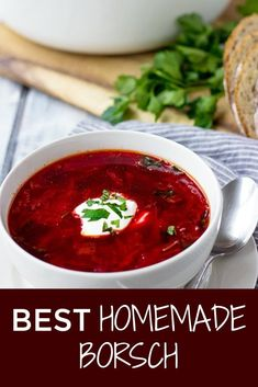 Stop looking for the best Ukrainian Borscht recipe. My easy Borscht is a hearty red beet soup that is perfect for colder weather. Best Soup Recipes, Lunch Recipes, Healthy Dinner Recipes, Vegetarian Recipes, Cooking Recipes, Healthy Soup, Beet Recipes, Vegetarian Soup, Best Borscht Soup Recipe