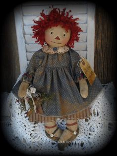 Primitive Olde Folk Art Americana Raggedy Ann Doll With Rusty Barn Star   Antiques, Primitives   eBay!
