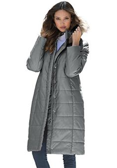 b0a592a99a3 Roamans Women s Plus Size Quilted Knee Length Parka at Amazon Women s  Clothing store  Winter Coats ...