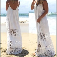 ‼️ NEW Arrival‼️ White Beach Dress/Coverup New bohemian style swimsuit coverup. Be beach ready for summer! Swim Coverups