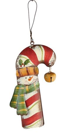 Metal Candy Cane Snowman Ornament - Christmas Ornaments - Christmas and Winter - Holiday Crafts Candy Cane Ornament, Snowman Ornaments, Painted Ornaments, Christmas Ornaments, Snowmen, Xmas, Christmas Tree Outfit, Christmas Inspiration, Christmas Ideas