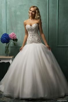 line drop waist sweet heart bodice wedding gown strapless beaded a