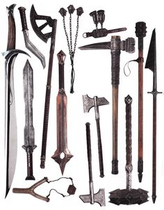 Weapons..Thorin's sword-Orcrist, is the first one one the left...beautiful.