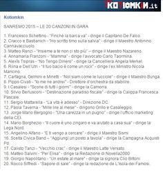 Il mohicano: San Remo 2015 - le canzoni in gara